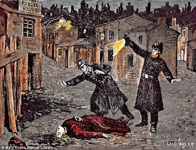 A contemporary engraving depicting the discovery of a Ripper victim.