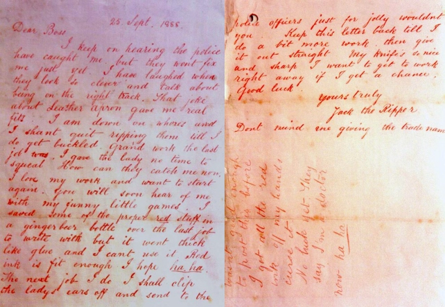 A letter written to the police in 1888, signed by 'Jack The Ripper'.