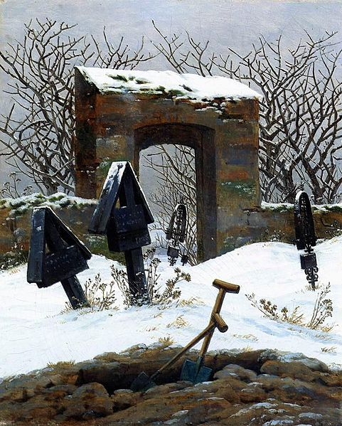 Caspar David Friedrich (1774–1840) - Graveyard Under Snow