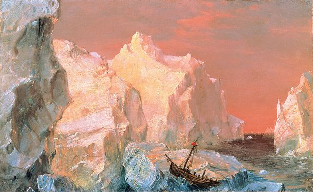 Frederic Edwin Church (1826-1900) - Icebergs And Wreck In Sunset