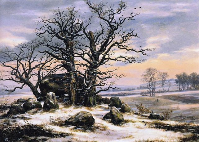Johan Christian Dahl (1788-1857) - Megalithic Tomb In Winter