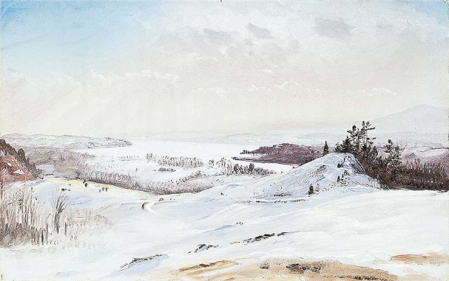 Frederic Edwin Church (1826-1900)- View From Olana In The Snow